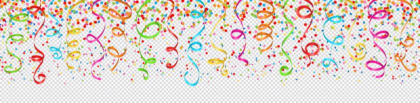 Confetti And Streamers Colorful Seamless Pattern - Arte vetorial de stock e mais imagens de Abstrato