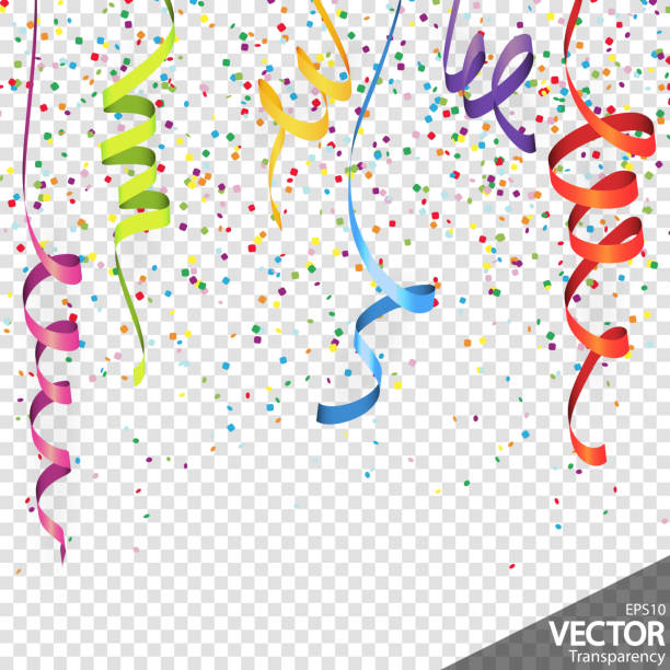 ilustrações de stock, clip art, desenhos animados e ícones de confetti and streamers party background - serpentina