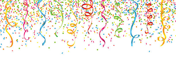 confetti and streamers - streamer stock illustrations, clip art, cartoons, & icons