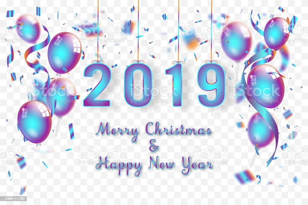 Confetti and Titanium rainbow ribbons celebration Merry Christmas and...