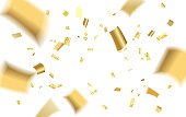 Abstract pattern of flying golden confetti with empty center for text on white background. Colorful background with gold confetti. Vector illustration.