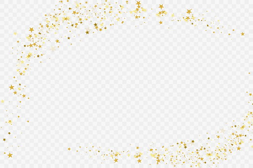 Confetti cover from gold stars.