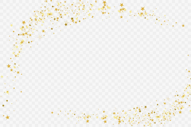 Confetti cover from gold stars. Confetti cover from gold stars. Spiral path. Design element, special effect on transparent background. frame border stock illustrations