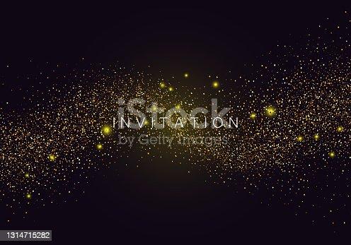 istock Confetti glittering wave. Vector golden invitation on black background. 1314715282