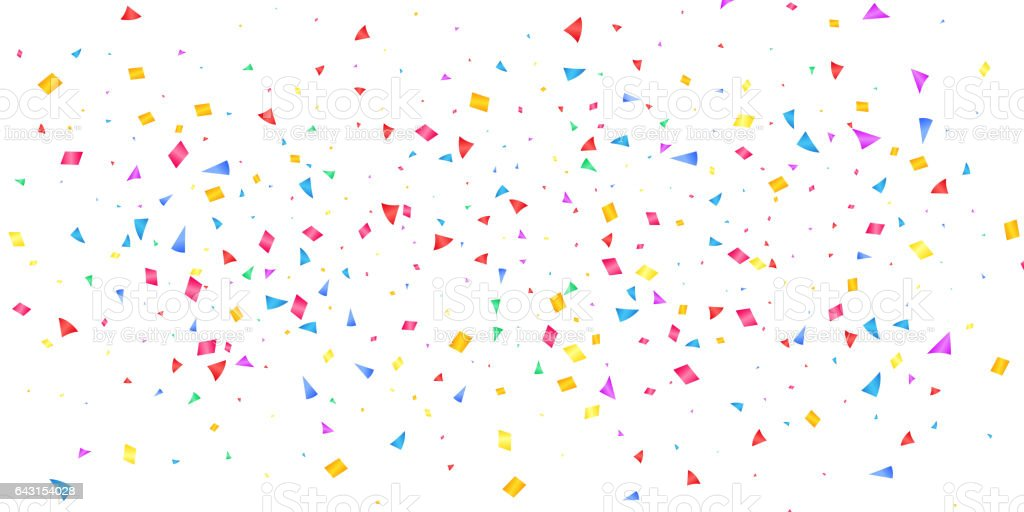 Confetti. Holiday shiny confetti isolated on white background. Colorful confetti vector art illustration
