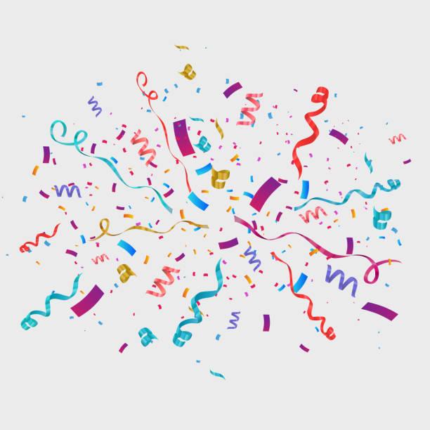 stockillustraties, clipart, cartoons en iconen met confetti geïsoleerd op transparante achtergrond. feestelijke vectorillustratie - confetti