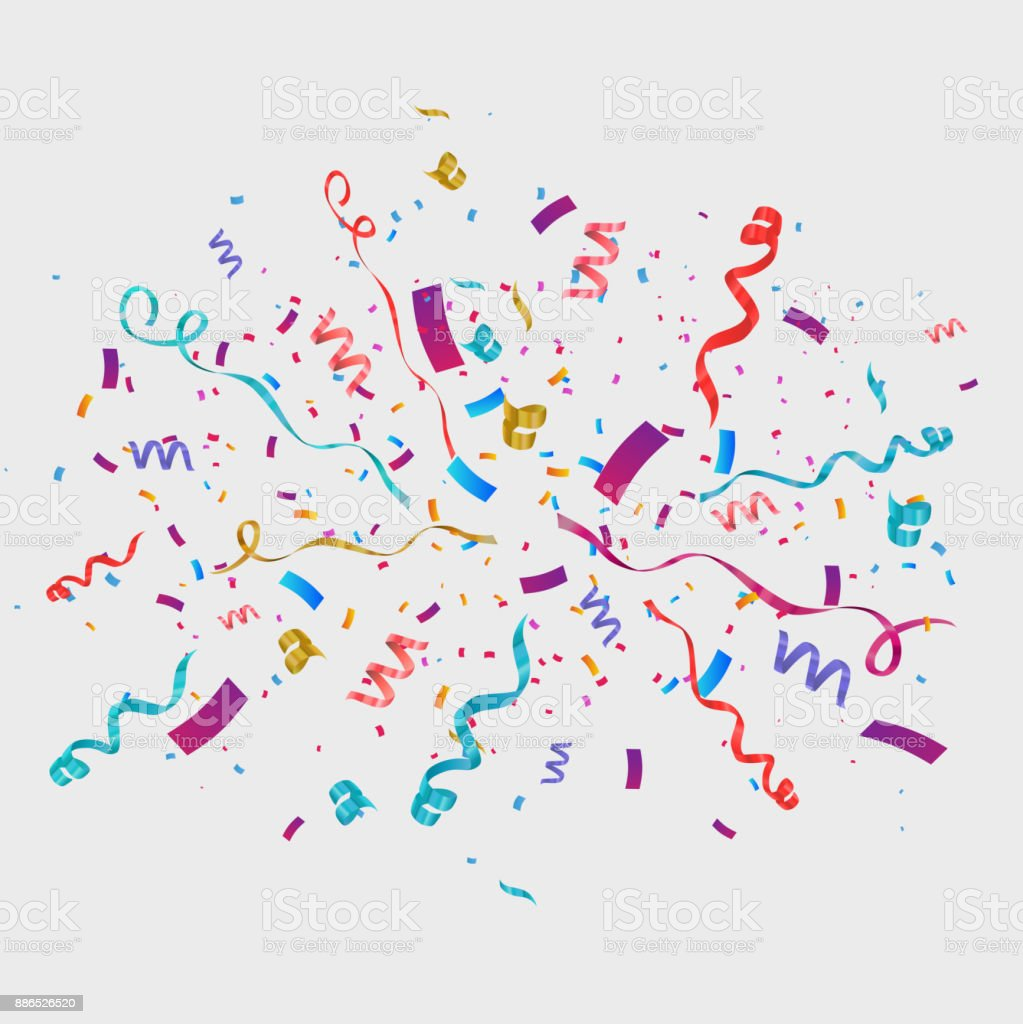 Confetti isolated on transparent background. Festive vector illustration vector art illustration