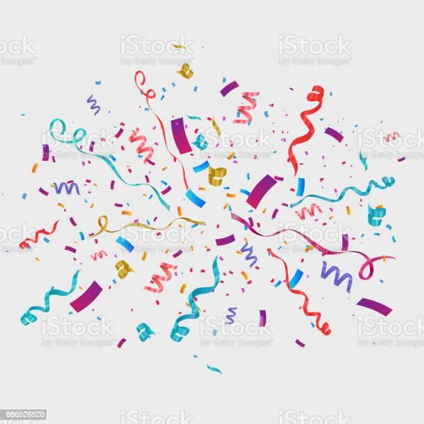 Confetti Isolated On Transparent Background Festive Vector Illustration — стоковая векторная графика и другие изображения на тему Ёлочная гирлянда