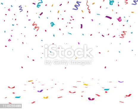 Confetti isolated on transparent background. Falling confetti, birthday vector illustration