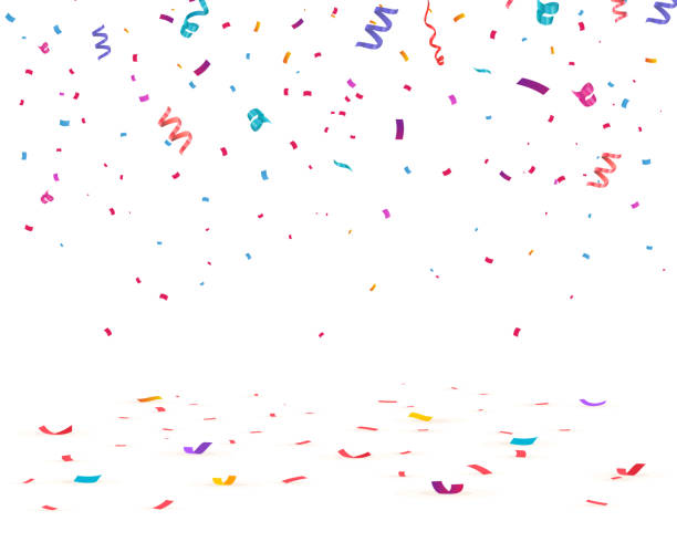confetti isolated on transparent background. - confetti stock illustrations