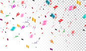 Confetti isolated on transparent background