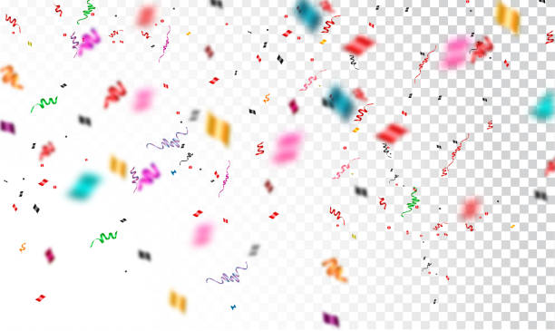 confetti isolated on transparent background - anniversary backgrounds stock illustrations