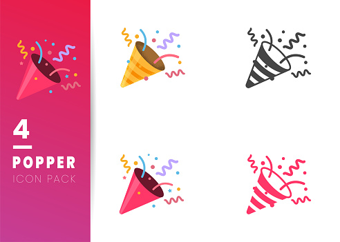 Confetti Party Popper icon vector illustration isolated on white
