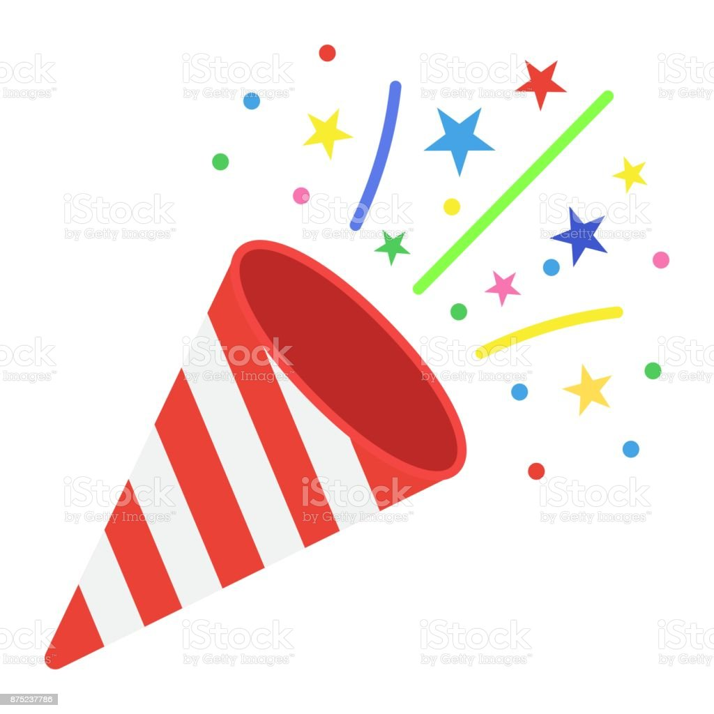 confetti popper flat icon new year and christmas xmas sign vector graphics a