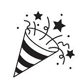 Confetti Popper line icon