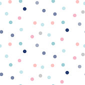 Confetti seamless vector pattern. Celebration repeat texture with pink and blue dot sprinkles.