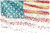 US flag formed by falling confetti on white background. Related images: