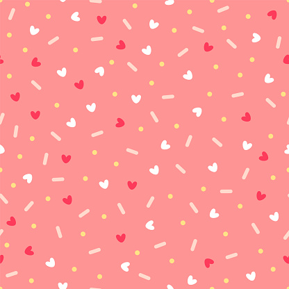 Confetti with hearts. Seamless vector pattern on pink background clipart