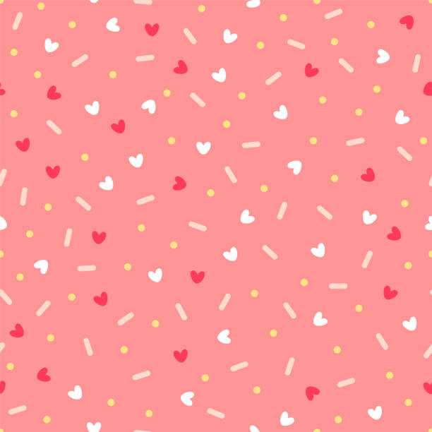 Confetti with hearts. Seamless vector pattern on pink background Confetti with hearts. Seamless vector pattern on pink background candy patterns stock illustrations