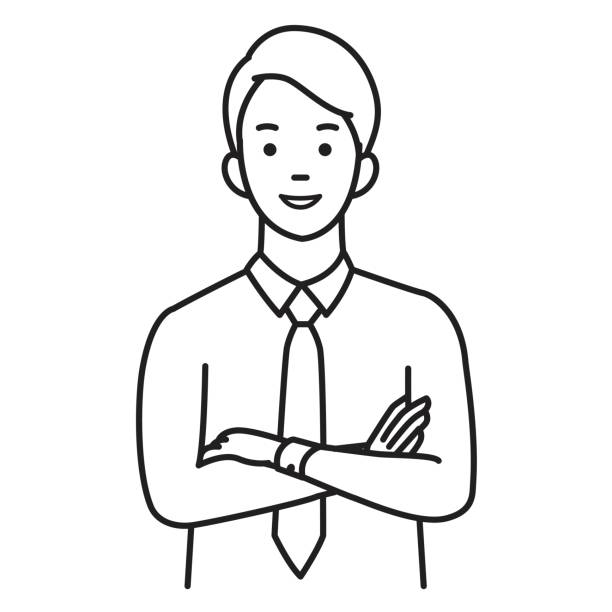 Confident business man vector art illustration