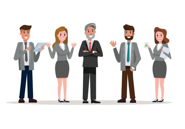 confident business team standing enjoy talking in the office. - old man smiling silhouettes stock illustrations, clip art, cartoons, & icons