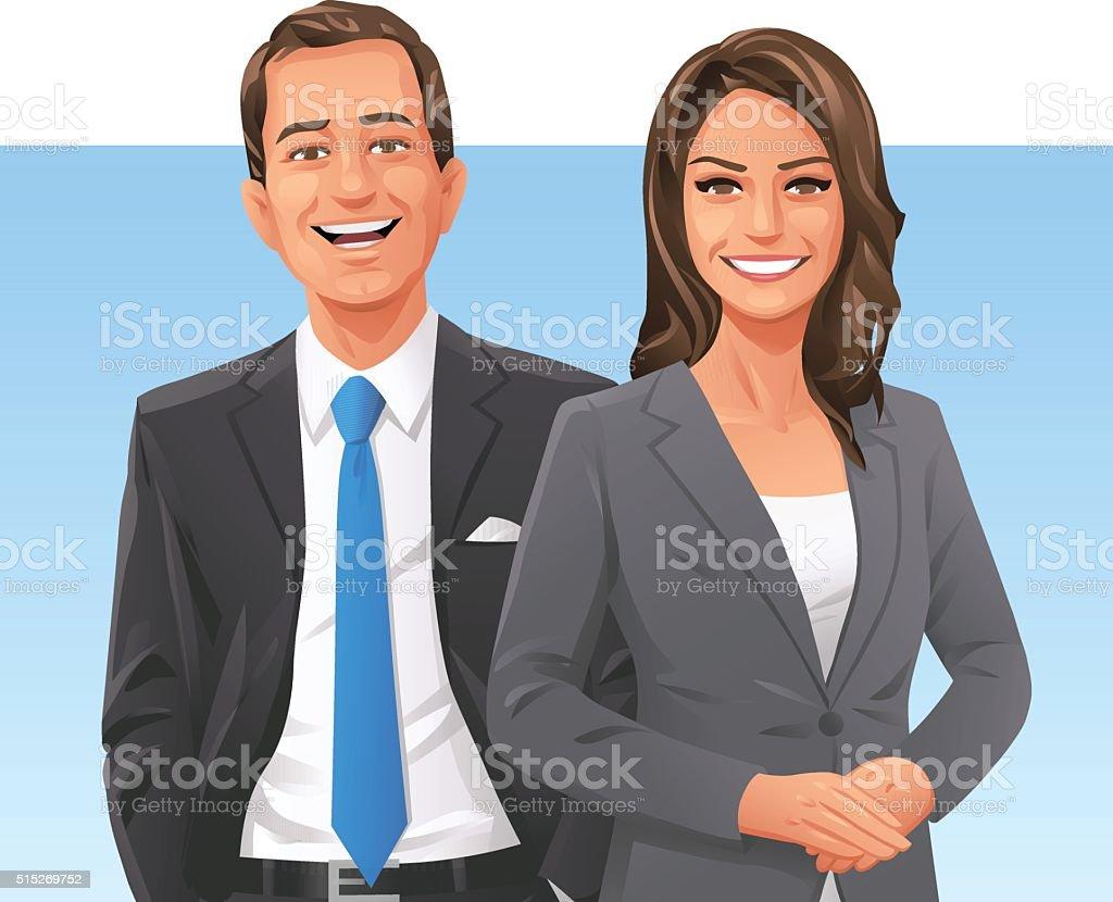 Confiant Homme d'affaires et femme d'affaires - Illustration vectorielle
