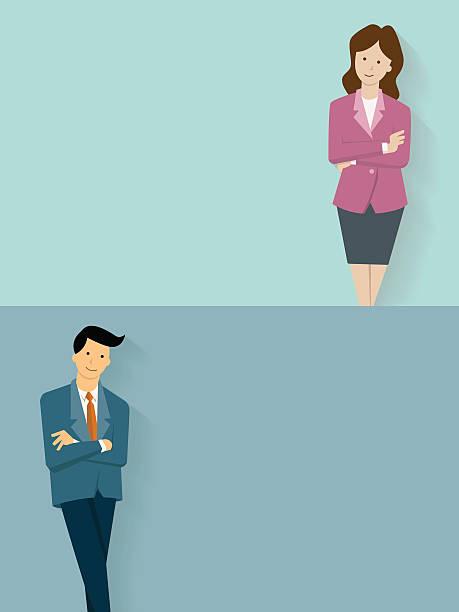 Confident businessman and woman vector art illustration