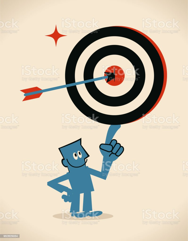 Confident Businessman Showing A Goal Target Dartboard With An Arrow On Bulls Eye