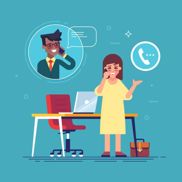 ilustrações, clipart, desenhos animados e ícones de empresária confiante, falando no telefone com um homem.  conceito de contato de negócios. vector plana. - call