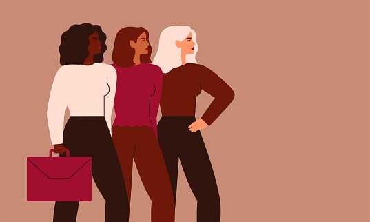Confident businesswomen stand together. Strong females entrepreneurs support each other.