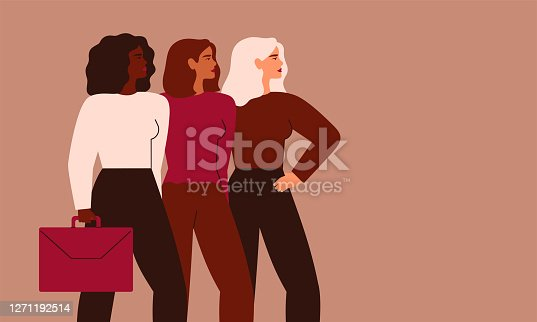 istock Confident businesswomen stand together. Strong females entrepreneurs support each other. 1271192514