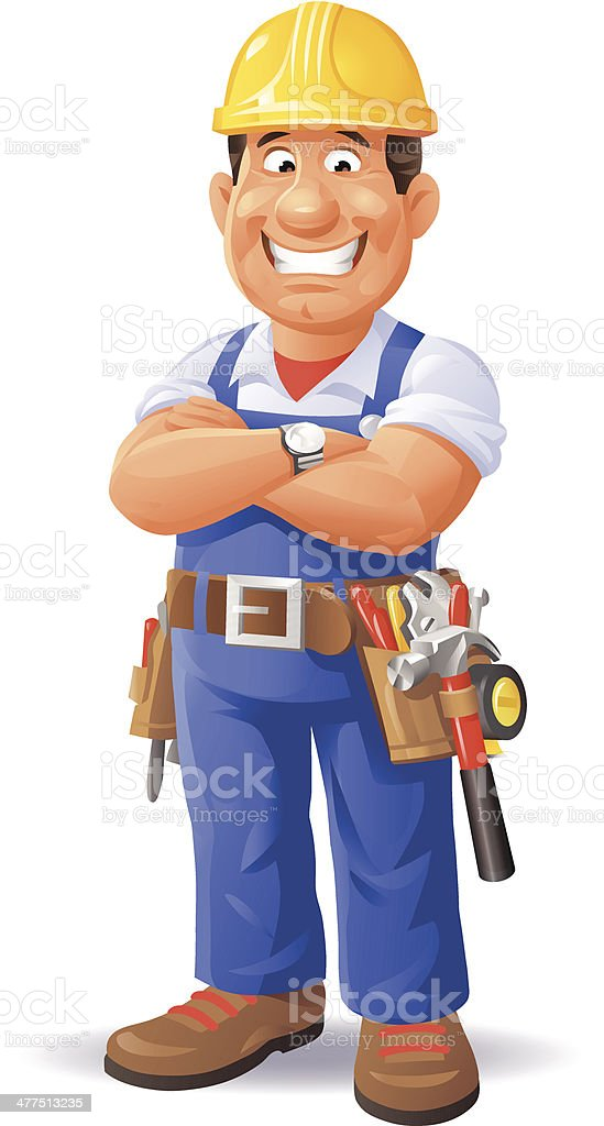 Confident Construction Worker vector art illustration