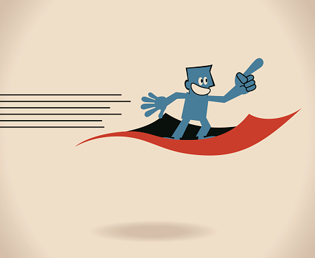 Confident smiling blue guy (businessman) flying on a magic carpet