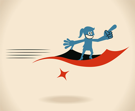 Confident smiling businesswoman (woman, girl) flying on a magic carpet