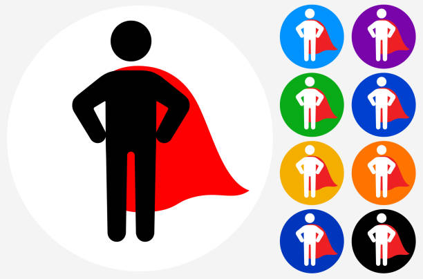 Confident Superhero with Cape Icon vector art illustration