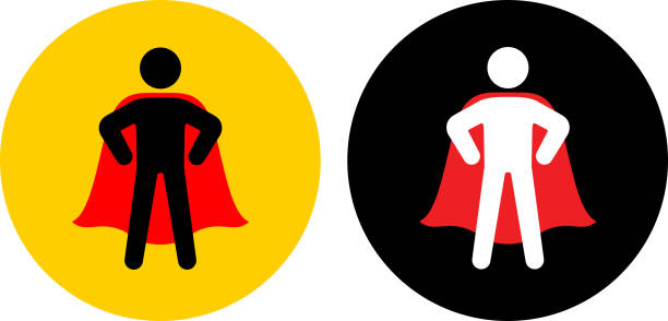 Confident Superhero with Cape Standing Icon vector art illustration