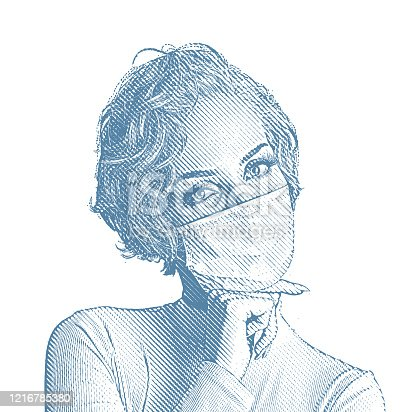 Engraving vector of a Confident woman looking fashionable in face mask