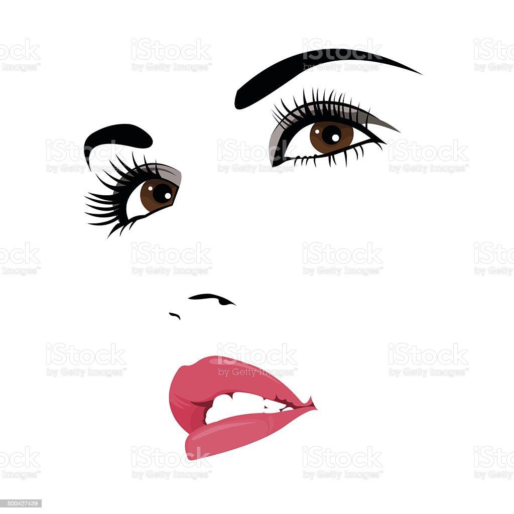 Confident woman looking up vector portrait vector art illustration