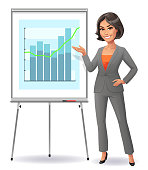 Vector illustration of a confident young businesswoman with her hands on her hip, giving a presentation at a flipchart. Concept for success and presentation techniques.