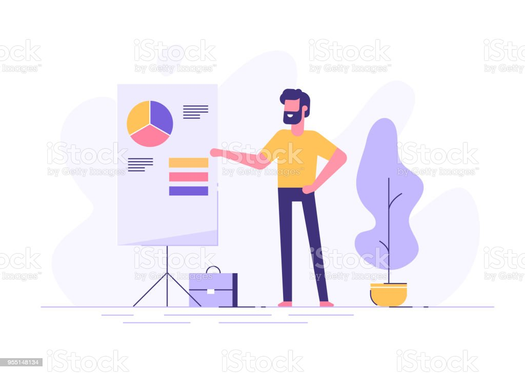 Confident young man standing near flip chart and pointing graph and diagram. Creative business concept. Office interior. Modern vector illustration. Flat design. royalty-free confident young man standing near flip chart and pointing graph and diagram creative business concept office interior modern vector illustration flat design stock illustration - download image now