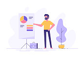 Confident young man standing near flip chart and pointing graph and diagram. Creative business concept. Office interior. Modern vector illustration. Flat design.