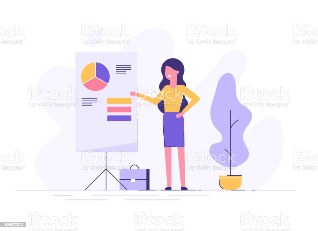 Confident young woman standing near flip chart and pointing graph and diagram. Creative business concept. Office interior. Modern vector illustration. Flat design. - arte vettoriale royalty-free di Adulto
