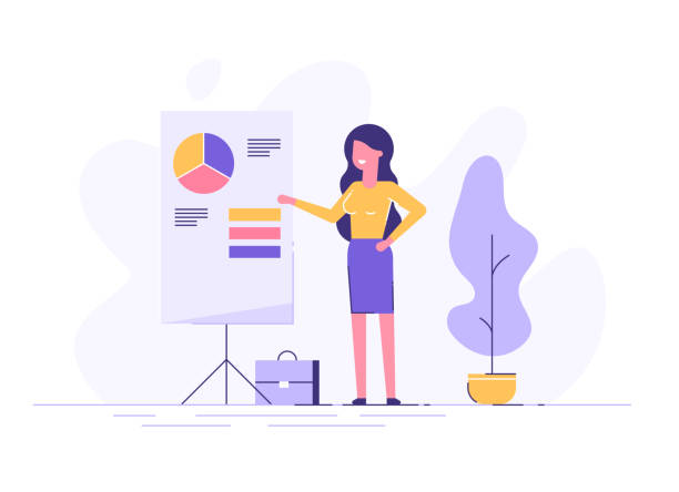 confident young woman standing near flip chart and pointing graph and diagram. creative business concept. office interior. modern vector illustration. flat design. - young women stock illustrations