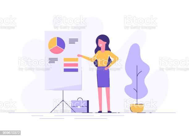 Selbstbewusste Junge Frau Stehen In Der Nähe Von Flipchart Und Graph Und Diagramm Zeigen Kreative Geschäftsidee Büroeinrichtung Moderne Vektorillustration Flaches Design Stock Vektor Art und mehr Bilder von Arbeiten