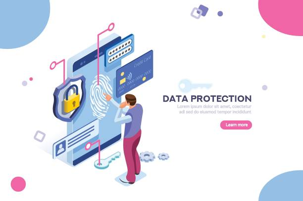 Confidential Data Protection Concept Data protection concept. Credit card check and software access data as confidential. Can use for web banner, infographics, hero images. Flat isometric illustration isolated on white background. confidential stock illustrations