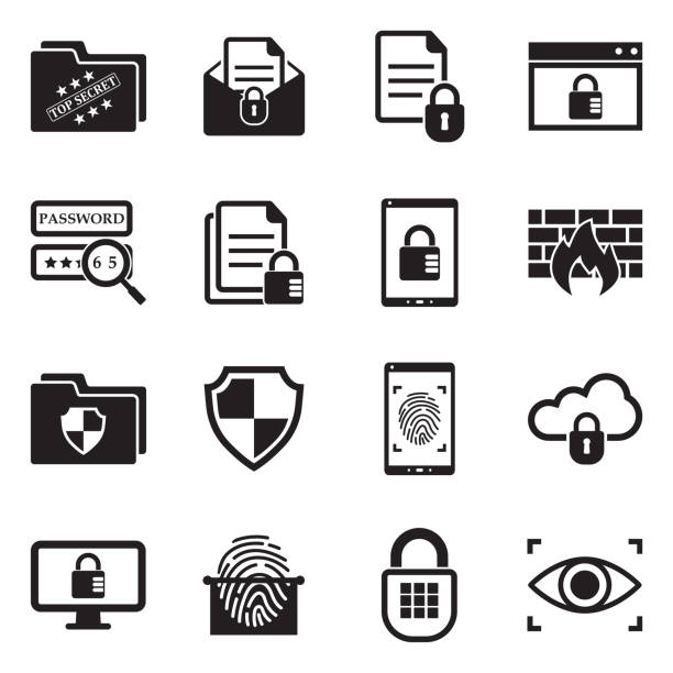 Confidential Information Icons. Black Flat Design. Vector Illustration. Secret, Data, Information confidential stock illustrations