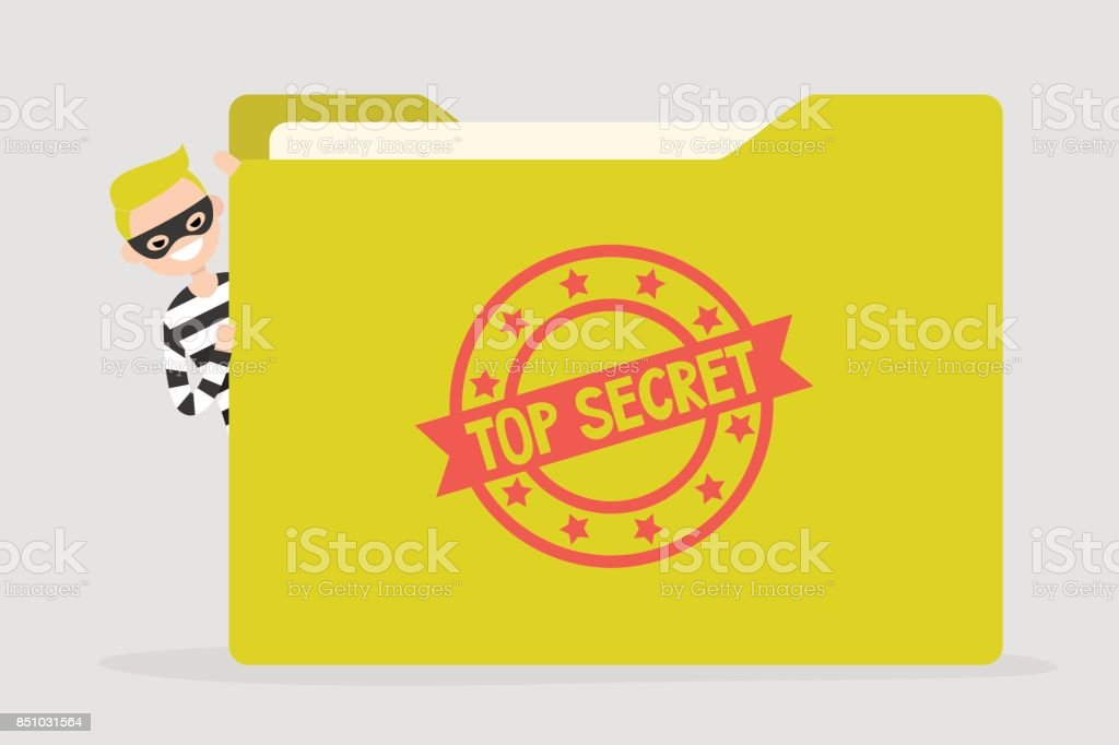 Confidential information stealing. Cyber security. Yellow folder with a Top secret stamp. Flat editable vector illustration, clip art vector art illustration