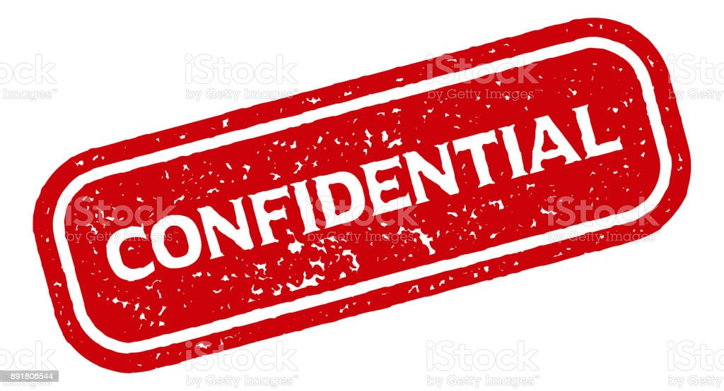 Confidential Red Rubber Stamp Icon On Transparent Background Royalty Free