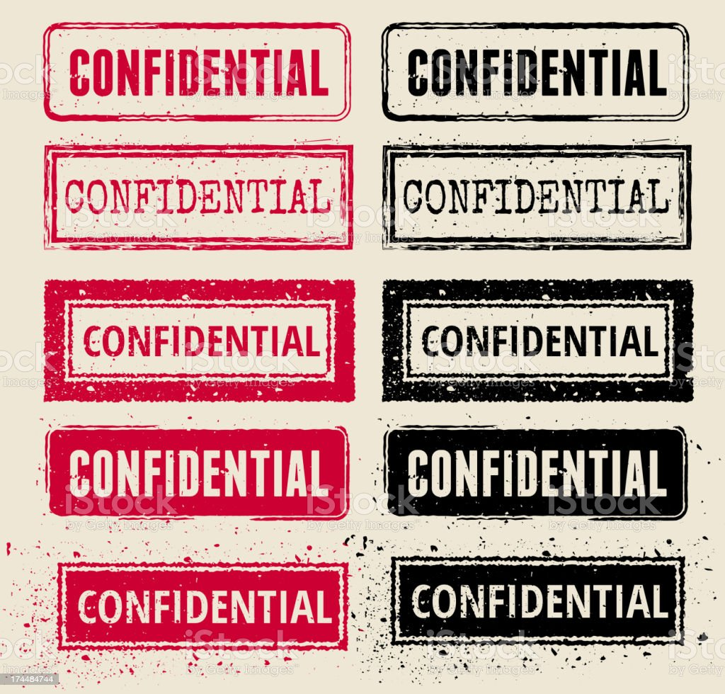 Confidential Vector Rubber Stamp Collections royalty-free stock vector art