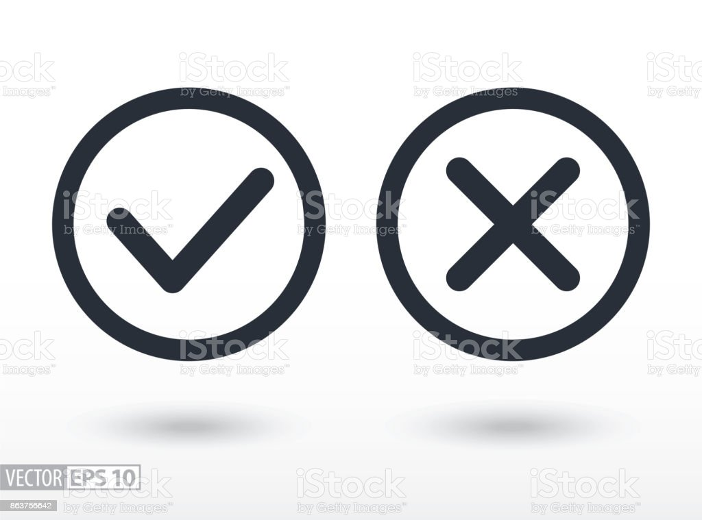Confirm and deny flat icon. Vector icon,  for web design, mobile and infographics vector art illustration